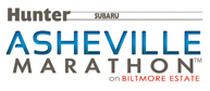 "A graphic with the text ""Hunter Subaru"" and ""Asheville Marathon on Biltmore Estate""."